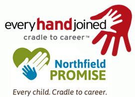 The logos of Northfield Promise and EveryHandJoined.