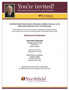 Invitation listing details on the Northfield Superintendent's impending retirement.